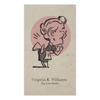 Rétro cercle de grand-maman de rose vintage modèle de carte de visite