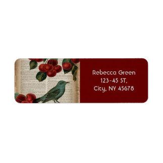 rétro cerise rouge botanique d'oiseau français de étiquette d'adresse retour