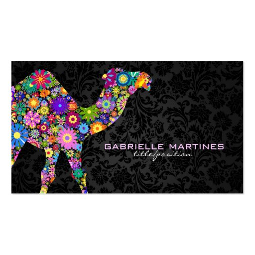 Rétro chameau floral coloré et damassés noires cartes de visite personnelles