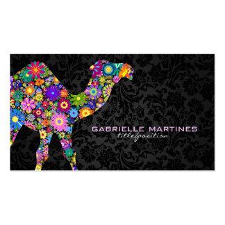 Rétro chameau floral coloré et damassés noires carte de visite standard