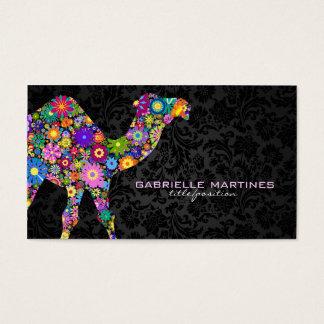 Rétro chameau floral coloré et damassés noires cartes de visite