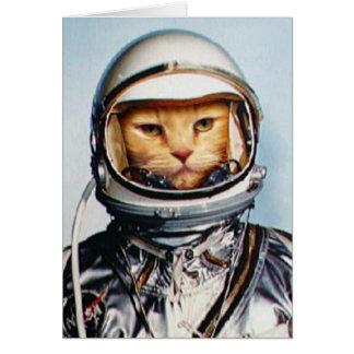 Rétro chat d'astronaute cartes de vœux