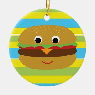 Rétro cheeseburger ornement rond en céramique