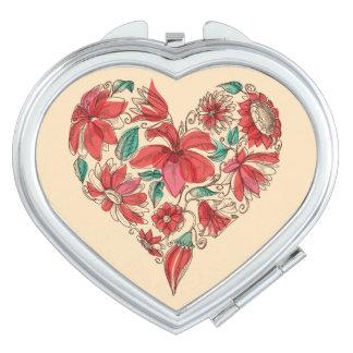 Rétro coeur de symbole d'amour de fleurs miroirs de poche
