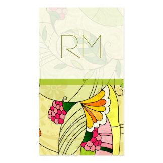 Rétro collage floral abstrait coloré carte de visite standard