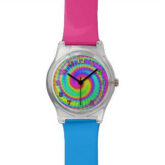 Rétro colorant 2 psychédéliques hippies de cravate montres
