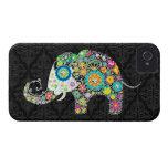 Rétro conception colorée d'éléphant de fleur