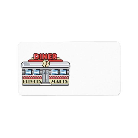 rétro conception de wagon-restaurant étiquettes d'adresse