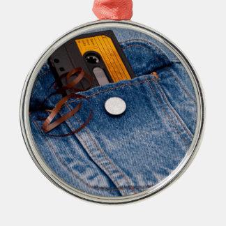 Rétro conception des années 80 - bande de cassette ornement rond argenté