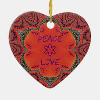 """Rétro conception géniale pourpre rouge de """"paix et ornement cœur en céramique"""