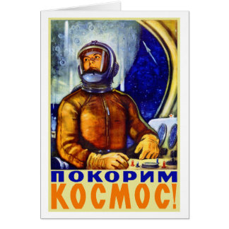 Rétro cosmonaute vintage de Soviétique de kitsch Carte De Vœux