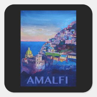 Rétro côte Italie d'Amalfi d'affiche Sticker Carré