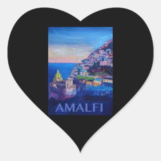 Rétro côte Italie d'Amalfi d'affiche Sticker Cœur
