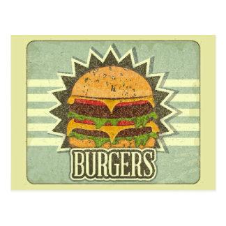 Rétro couverture pour le menu d'aliments de carte postale