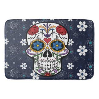 Rétro crâne bleu de sucre de fleur blanche de tapis de bain