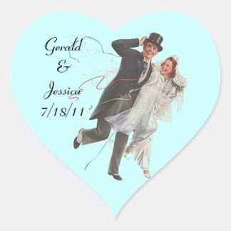Rétro date de coeur de mariage de mariage de sticker cœur
