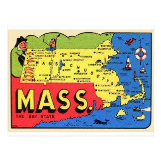 Rétro décalque vintage de Massachusetts le Carte Postale