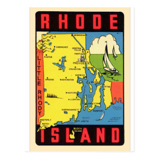 Rétro décalque vintage d'Île de Rhode Rhody de Carte Postale