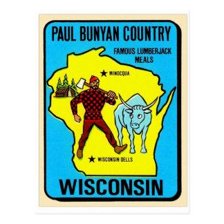 Rétro décalque vintage du Wisconsin Paul Bunyan de Carte Postale