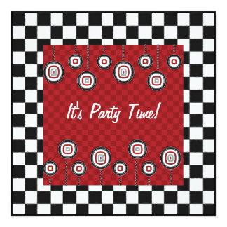 rétro décor de wagon-restaurant de damier de carton d'invitation  13,33 cm