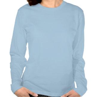Rétro dessus longtemps gainé bleu d'arbre de Noël T-shirts