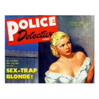 Rétro détective de police vintage de femmes de carte postale