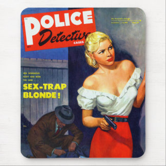 Rétro détective de police vintage de femmes de tapis de souris