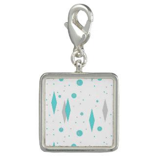 Rétro diamant de turquoise et charme de Starburst Breloque Avec Photo