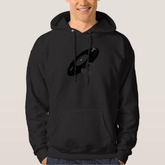 Rétro disque de musique et noir de note sweatshirt à capuche