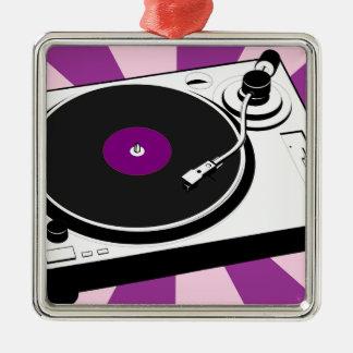 Rétro disque de plaque tournante faite sur ornement carré argenté