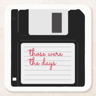Rétro disque souple drôle dessous-de-verre carré en papier