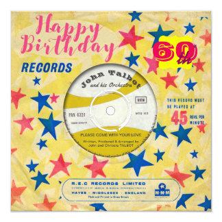 Rétro disque vinyle 45 t/mn d'invitation fait sur carton d'invitation  13,33 cm