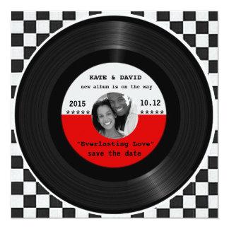 Rétro disque vinyle l Économie-le-Date moderne Carton D'invitation 13,33 Cm