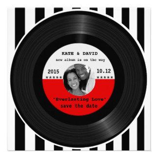 Rétro disque vinyle l Économie-le-Date moderne Faire-parts