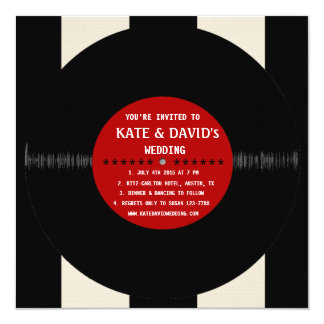 Rétro disque vinyle l faire-part de mariage