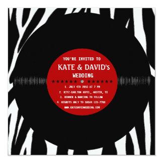 Rétro disque vinyle l faire-part de mariage carton d'invitation  13,33 cm