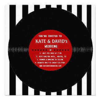 Rétro disque vinyle l faire-part de mariage modern
