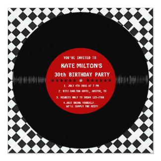 Rétro disque vinyle l invitations modernes de fête