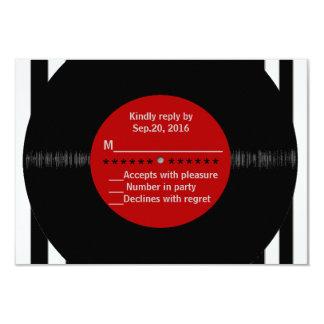 Rétro disque vinyle l RSVP moderne Carton D'invitation 8,89 Cm X 12,70 Cm