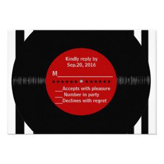 Rétro disque vinyle l RSVP moderne Invitation Personnalisable