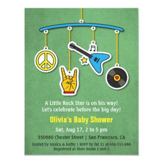 Rétro douche de bébé de rock de guitare de paix carton d'invitation 10,79 cm x 13,97 cm