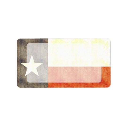 Rétro drapeau vintage du Texas Étiquette D'adresse