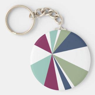 Rétro éclat de couleur d'art géométrique moderne porte-clé rond