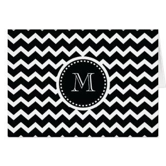 Rétro élégance de zigzag noir et blanc de Chevron Carte De Vœux