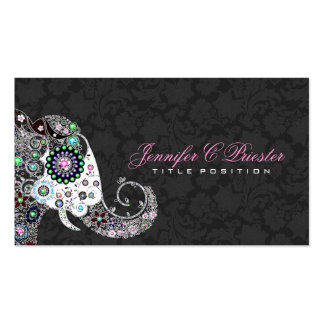 Rétro éléphant floral et damassés noires cartes de visite personnelles
