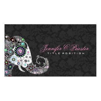 Rétro éléphant floral et damassés noires carte de visite standard