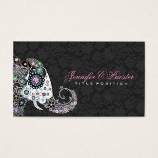 Rétro éléphant floral et damassés noires cartes de visite