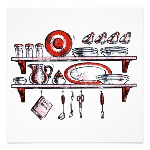 R tro tag re de cuisine dans blanc et rouge noirs carton for Etagere cuisine retro