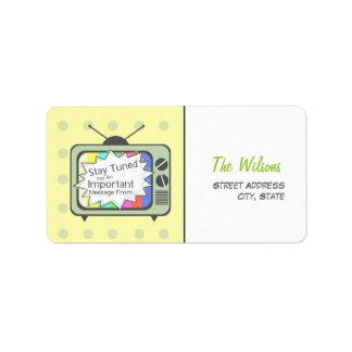 Rétro étiquette de adresse drôle - poste TV vert Étiquettes D'adresse