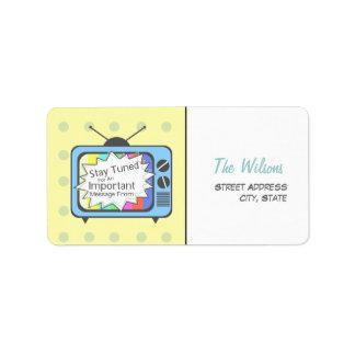 Rétro étiquette de adresse - poste TV bleu Étiquette D'adresse